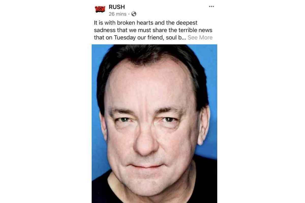 Rush Legend Neil Peart Dead At 67 2020 In Review