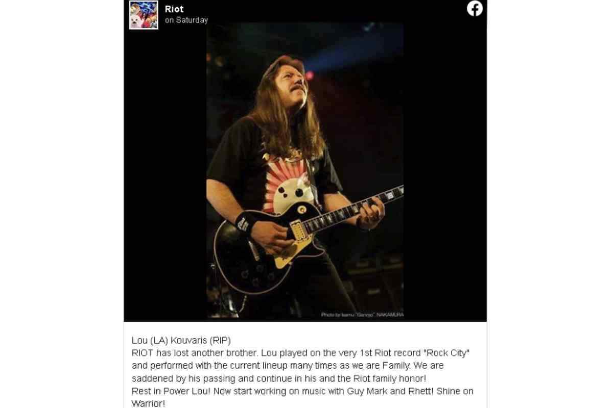 Original Riot Guitarist Lou 'L.A.' Kouvaris Dead At 66 2020 In Review