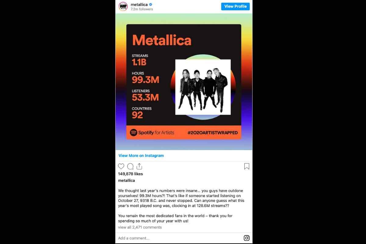 Metallica Surpassed A Billion Spotify Streams In 2020