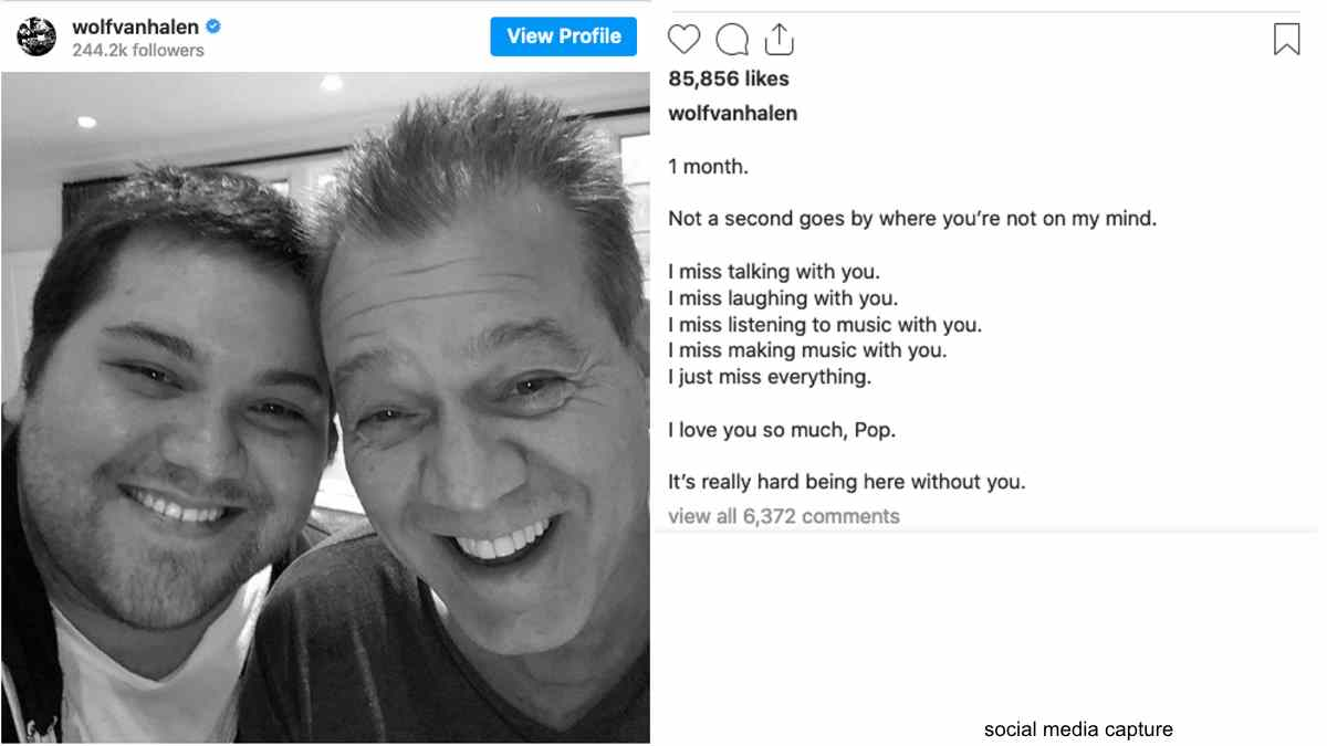 Eddie Van Halen's Son Wolfgang Shares Tribute To His Dad