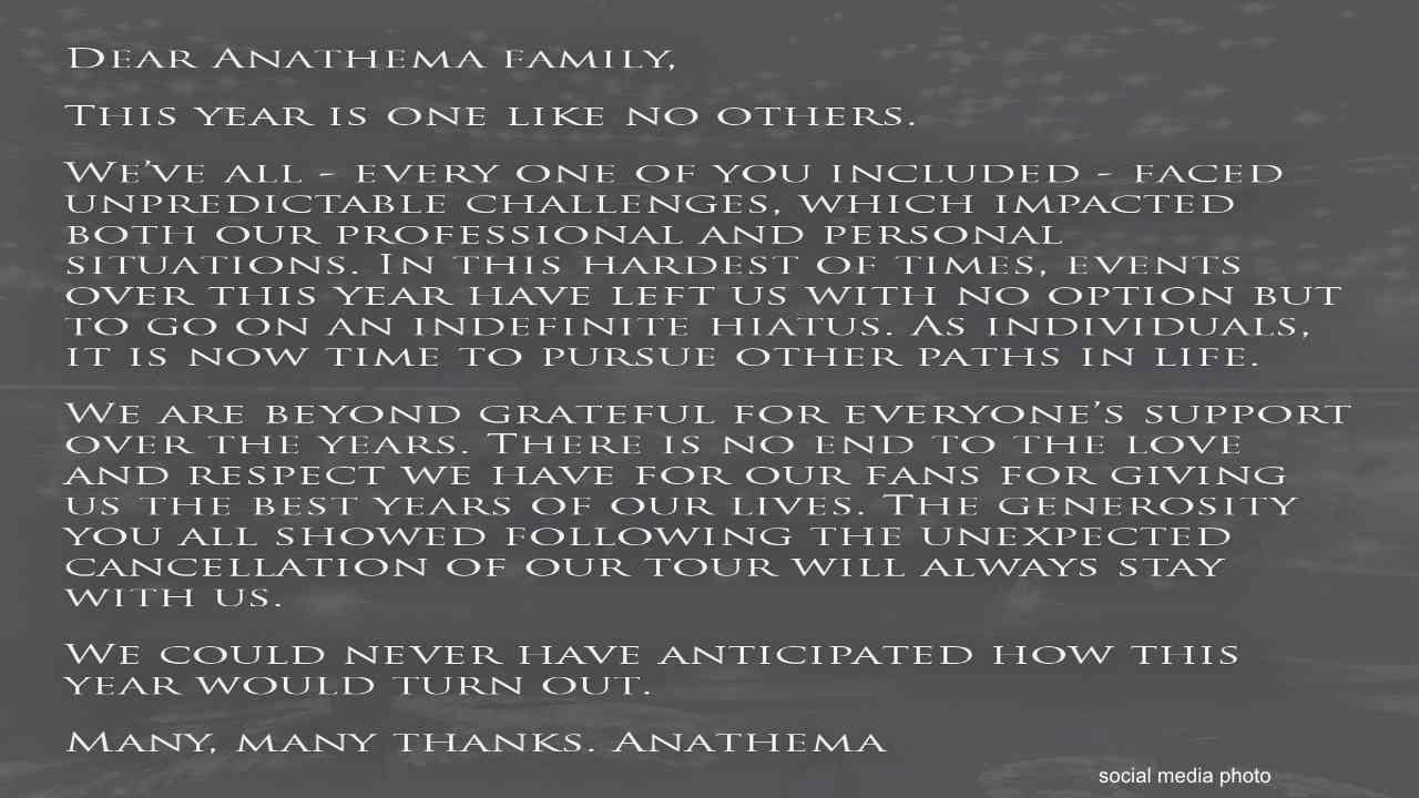 Anathema Announce Indefinite Hiatus