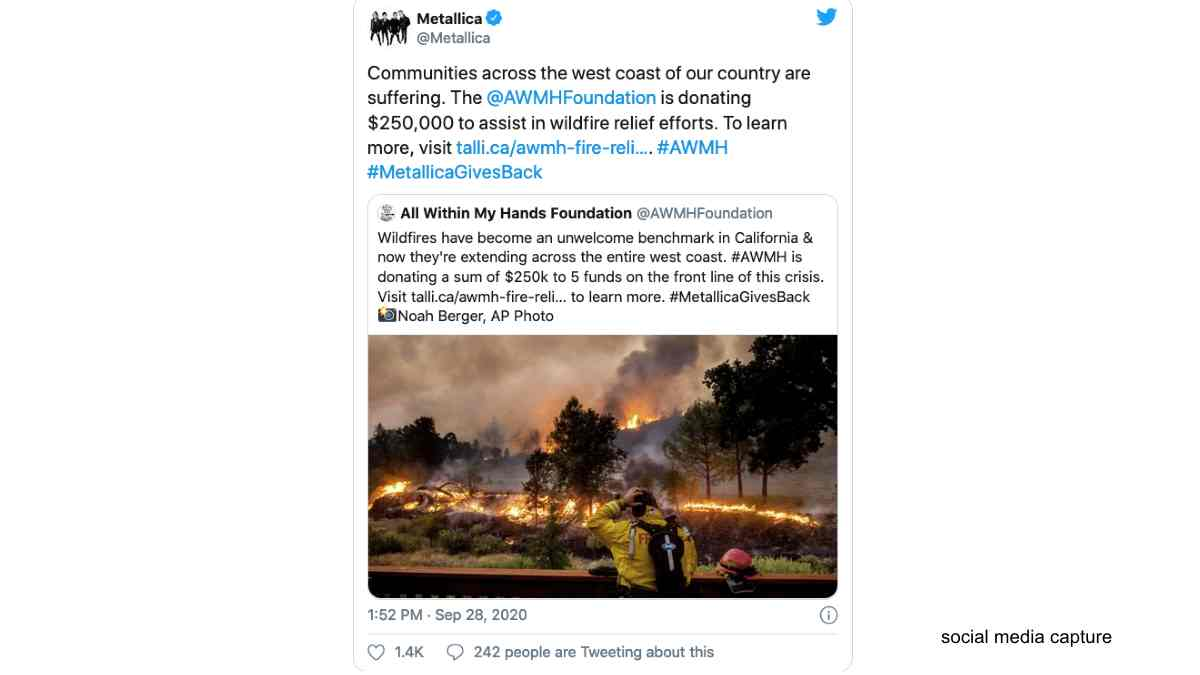 Metallica Helping Wildfire Relief Efforts