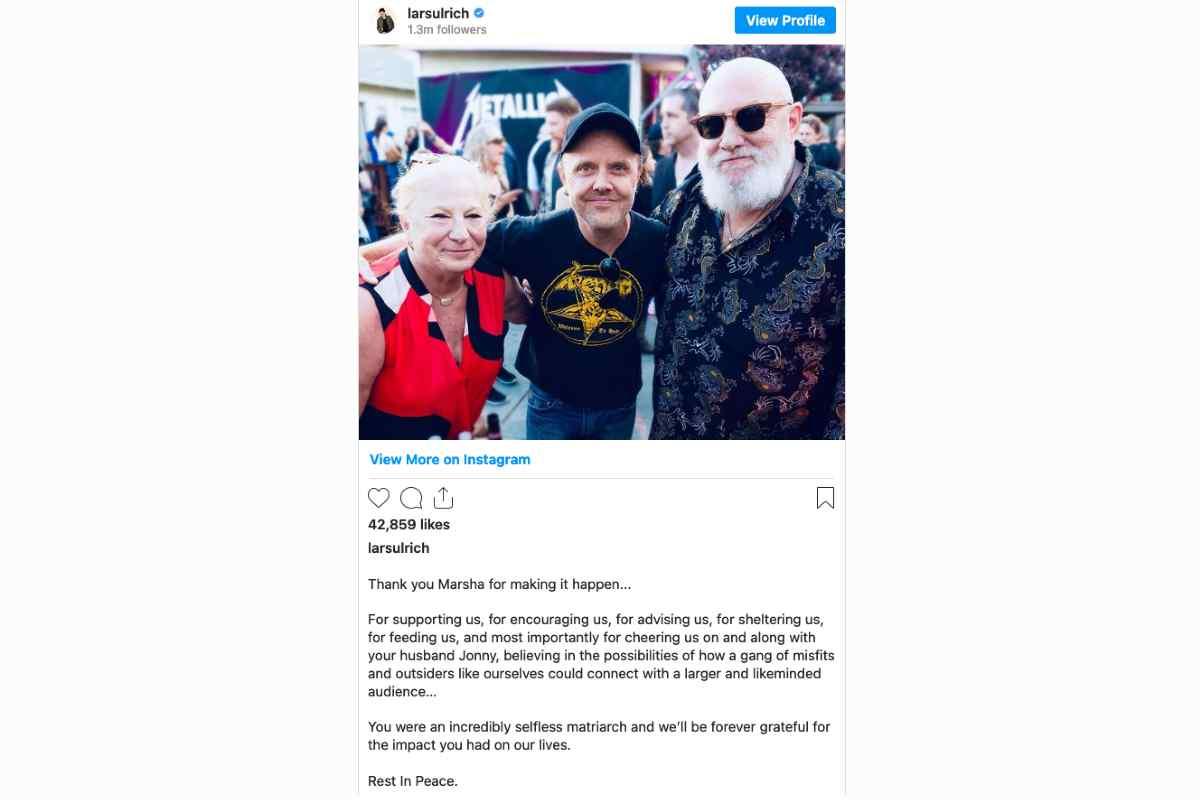 Metallica And Anthrax Pay Tribute To Megaforce Cofounder Marsha Zazula