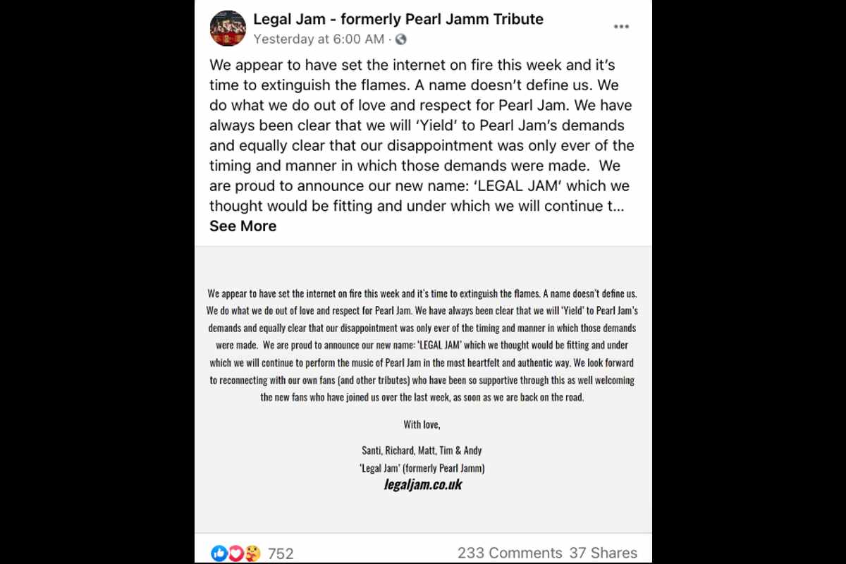 Pearl Jam Tribute Band Changes Name After Legal Threat