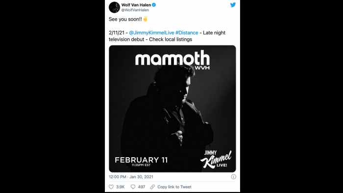 Wolfgang Van Halen To Rock TV Debut On Kimmel