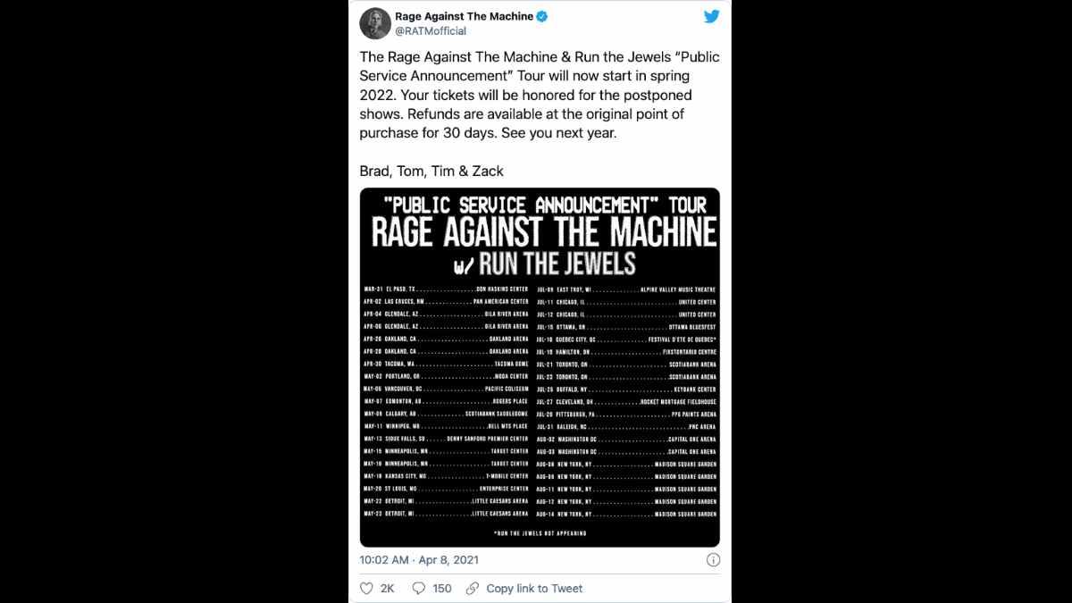 Rage Against The Machine social media capture