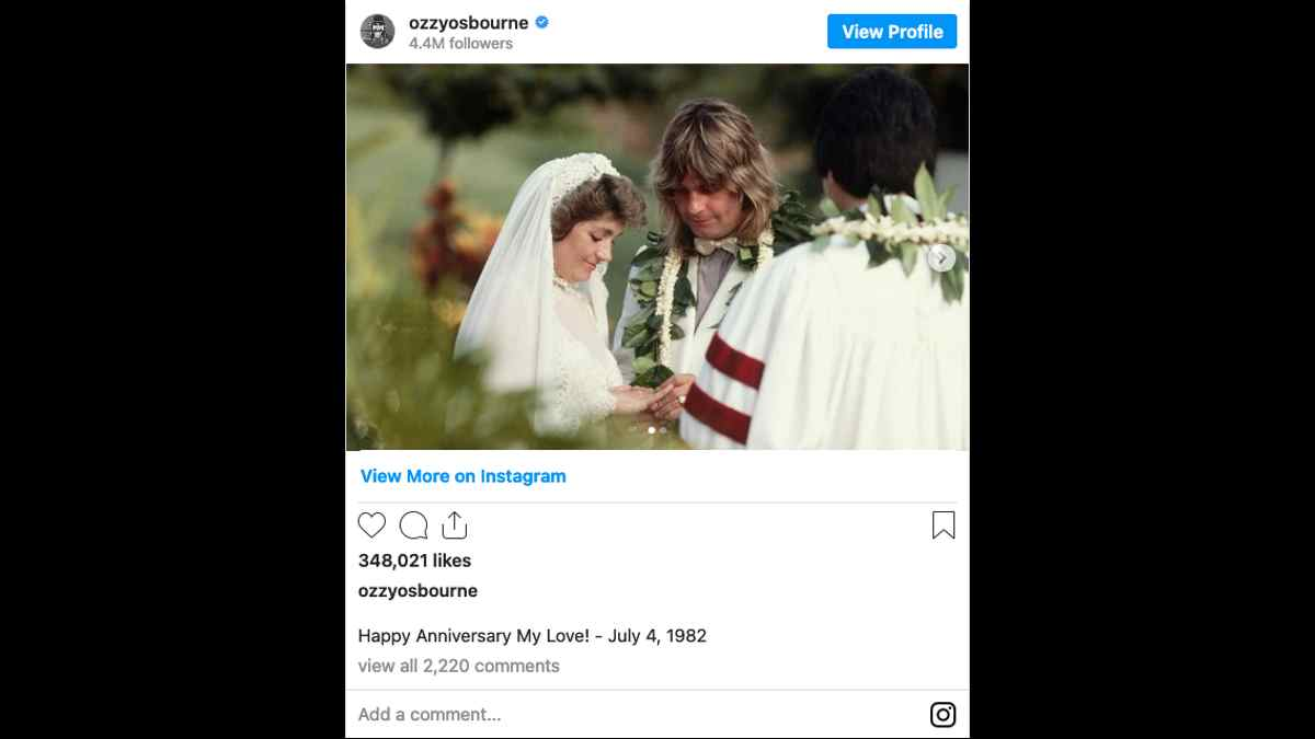Ozzy Osbourne social media capture