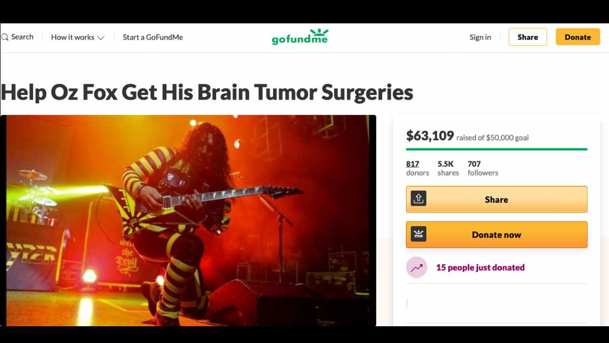 Stryper GoFundMe campaign page screen shot