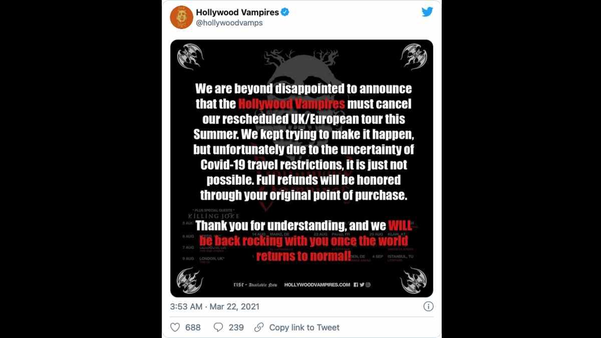 Hollywood Vampires social media capture
