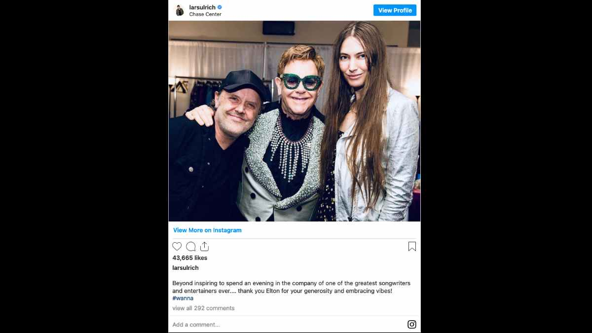 Metallica social media capture Lars Ulrich