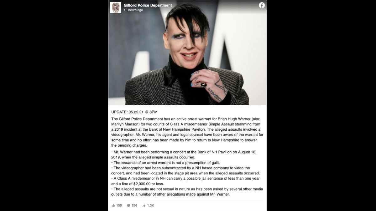 Marilyn Manson social media capture
